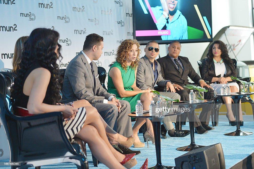 MUN2 - EVENTS -- Pre-Upfront Press Conference -- Pictured: (L-R) Marisol Terrazas, Vicky Terrazas, Joe Bernard, Diana Mogollon, Larry Hernandez, Fernando Vargas, and Martha Vargas. --