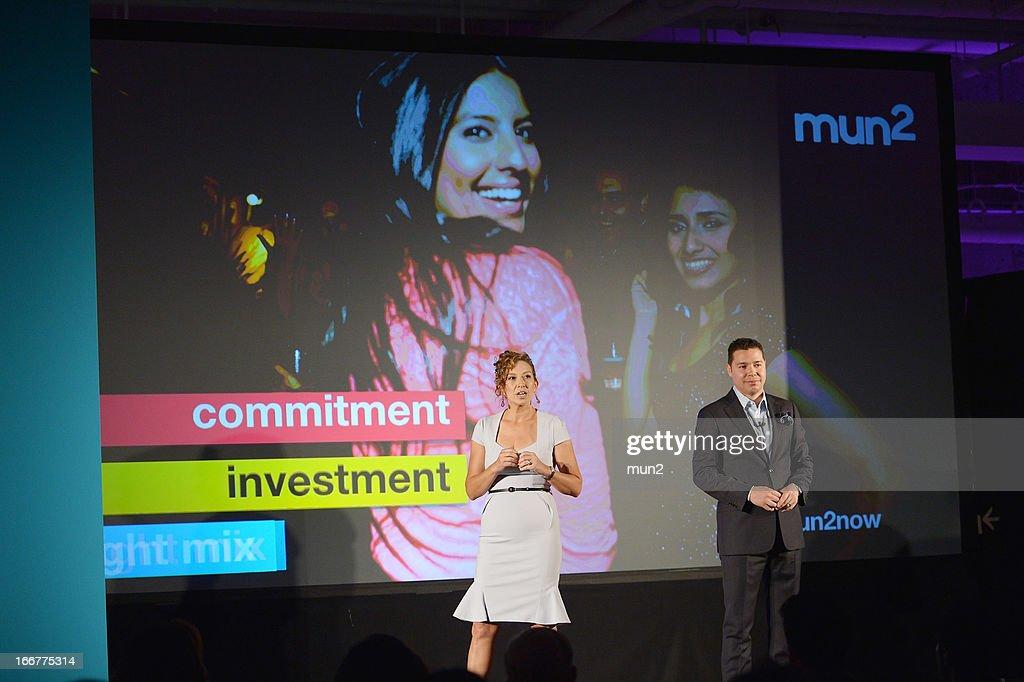 MUN2 - EVENTS -- Pre-Upfront Press Conference -- Pictured: MUN2 General Manager Diana Mogollon (L) and MUN2 Senior V.P. of Sales Joe Bernard.--