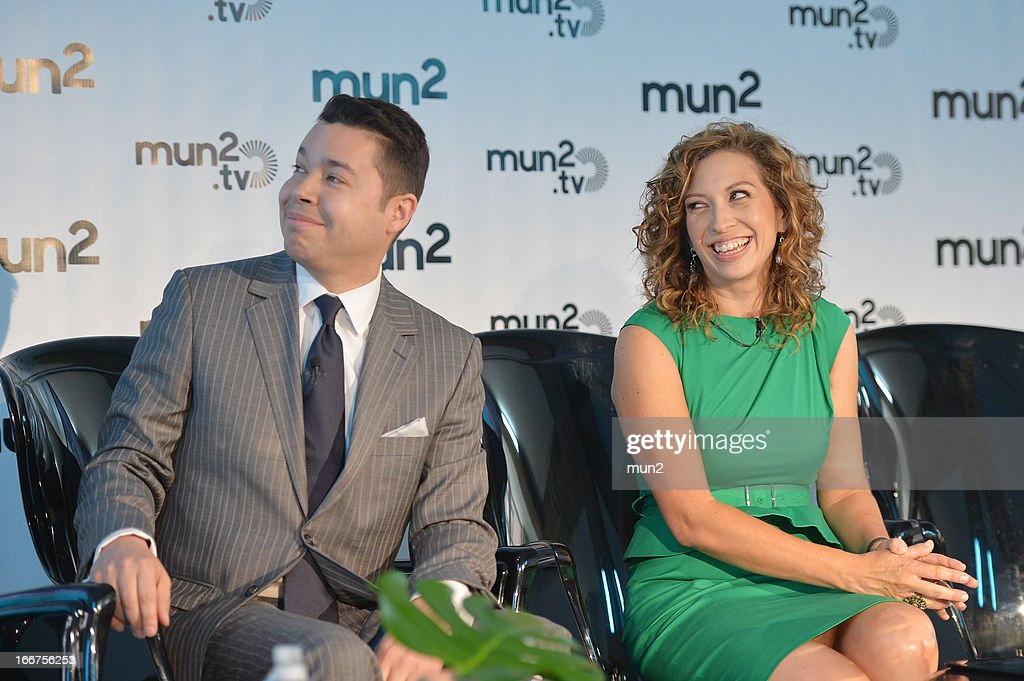 MUN2 - EVENTS -- Pre-Upfront Press Conference -- Pictured: MUN2 Senior V.P. of Sales Joe Bernard (L) and MUN2 General Manager Diana Mogollon.--