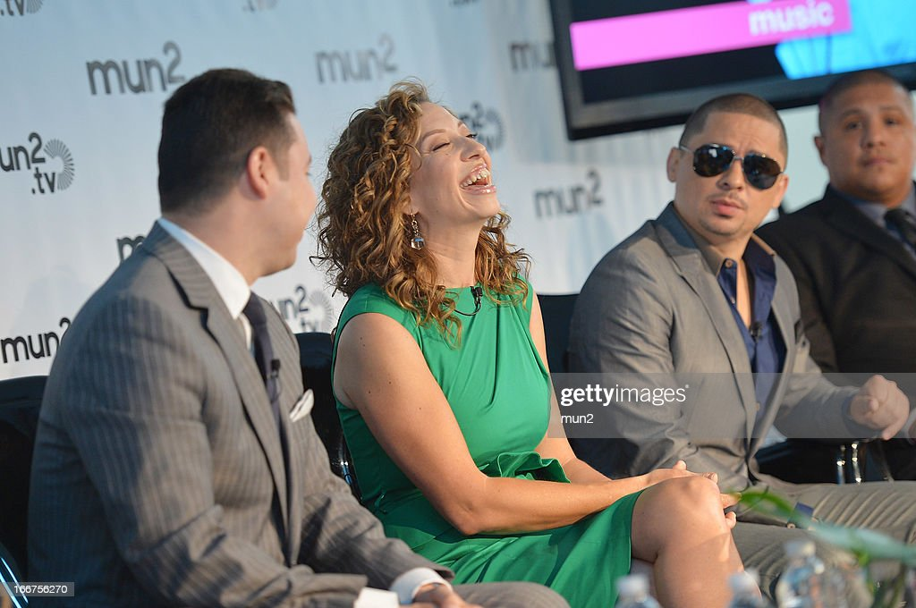 MUN2 - EVENTS -- Pre-Upfront Press Conference -- Pictured: (L-R) MUN2 Senior V.P. of Sales Joe Bernard, MUN2 General Manager Diana Mogollon, and musician Larry Hernandez of 'Larrymania.'--