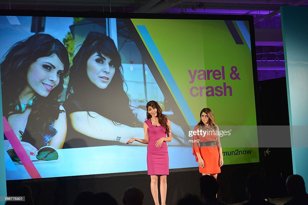 MUN2 - EVENTS -- Pre-Upfront Press Conference -- Pictured: TV personality Melissa 'Crash' Barrera (L) and Yarel Ramos of 'Reventon.' --