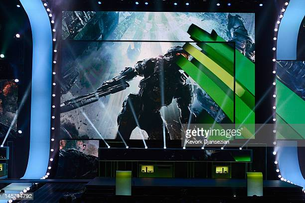 A preview is seen on a screen for Halo 4 during the Microsoft Xbox press conference at the Electronic Entertainment Expo at the Galen Center on June...