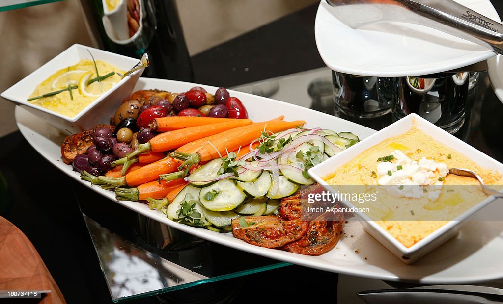 A preview of a Meze sampler during a behind the scenes kitchen tour and suite menu tasting for the 55th Annual GRAMMY Awards at Staples Center on February 4, 2013 in Los Angeles, California.