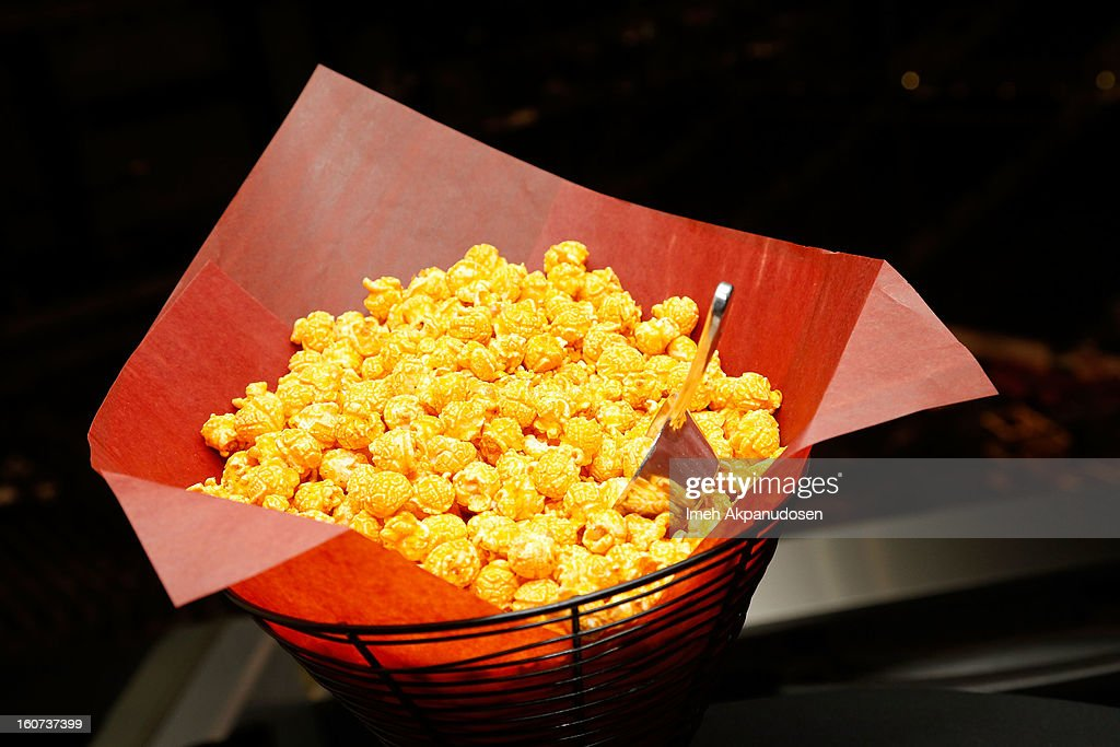 A preview of cheddar and jalapeno spiced popcorn during a behind the scenes kitchen tour and suite menu tasting for the 55th Annual GRAMMY Awards at Staples Center on February 4, 2013 in Los Angeles, California.