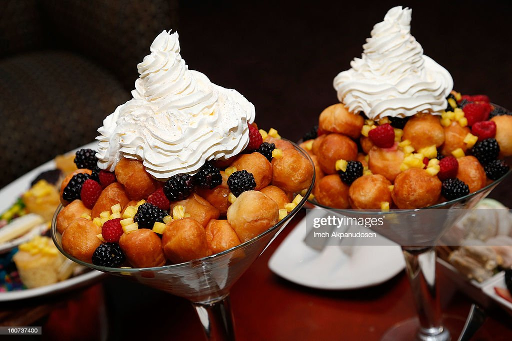 A preview of donut hole 'panzanellas' during a behind the scenes kitchen tour and suite menu tasting for the 55th Annual GRAMMY Awards at Staples Center on February 4, 2013 in Los Angeles, California.