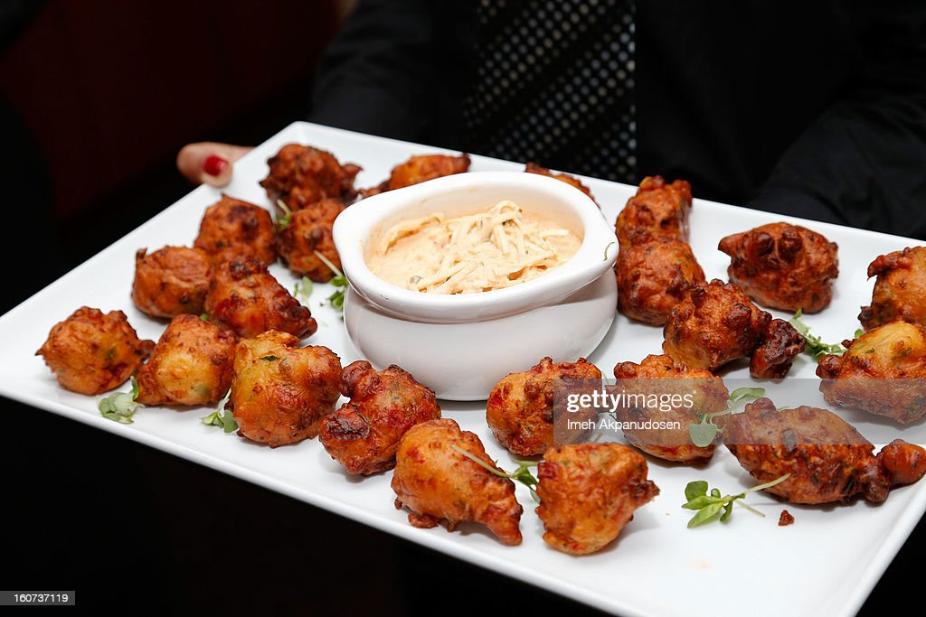 A preview of lobster beignets during a behind the scenes kitchen tour and suite menu tasting for the 55th Annual GRAMMY Awards at Staples Center on February 4, 2013 in Los Angeles, California.