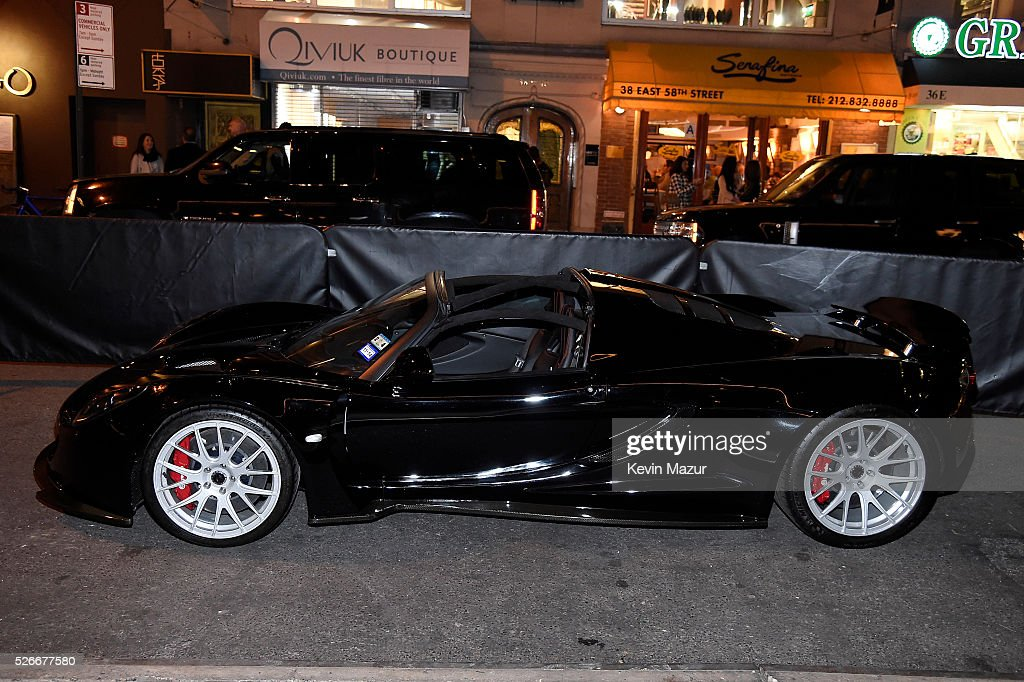 Preview of Steven Tyler's Hennessy Venom GT Spyder and Celebration of 'Steven Tyler...Out on a Limb' Show to Benefit 'Janie's Fund' in Collaboration with Youth Villages at Lavo on April 30, 2016 in New York City.