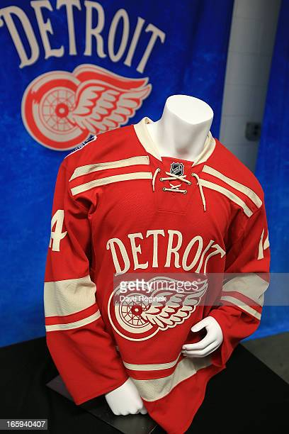 A preview of the Detroit Red Wings jersey for the 2014 NHL Winter Classic at the Press Announcement on April 7 2013 in Detroit Michigan