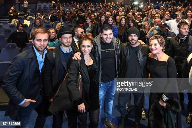 Preview of the fiction Gomorra3 produced by Sky and Cattleya in Naples Metropolitan cinema with the cast from right Cristina Donadio Marco D' Amore...