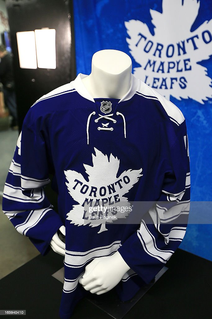 A preview of the Toronto Maple Leafs jersey for the 2014 NHL Winter Classic at the Press Announcement on April 7, 2013 in Detroit, Michigan.