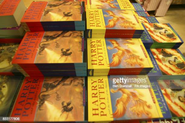Previous installments of the Harry Potter books on sale as the latest and final Harry Potter book is released at midnight in Kings Cross Station at...