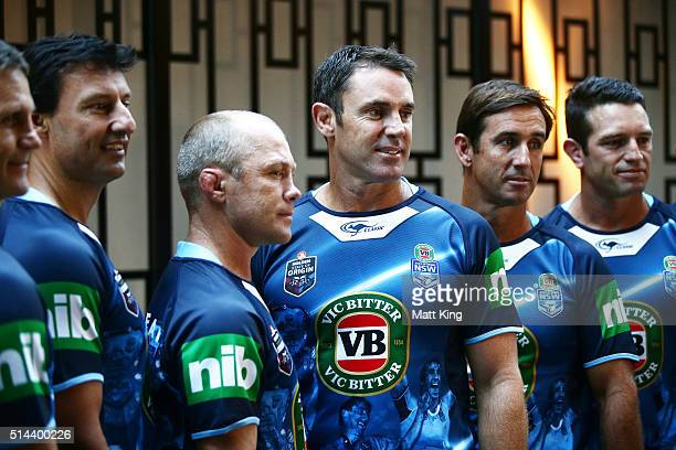 Previous winning New South Wales State of Origin captains Laurie Daley Geoff Toovey Brad Fittler Andrew Johns and Danny Buderus line up during a...