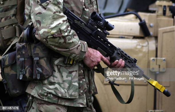 Previously unissued photo of an SA 80 assault rifle at Fingringhoe Ranges in Colchester Essex as it was announced today that army reservists are to...