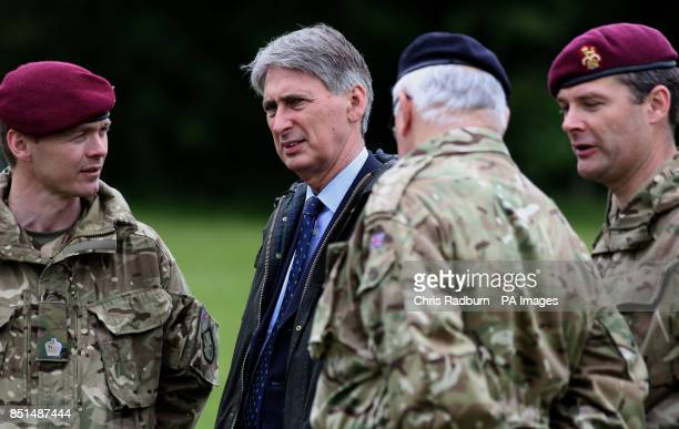 Previously unissued photo of Defence Secretary Philip Hammond during a visit to Fingringhoe Ranges in Colchester Essex as it was announced today that...