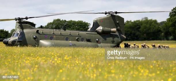 Previously unissued photo of members of 4 Para Reserves filing into a Chinook Helicopter during a MediVac exercise at Fingringhoe Ranges in...