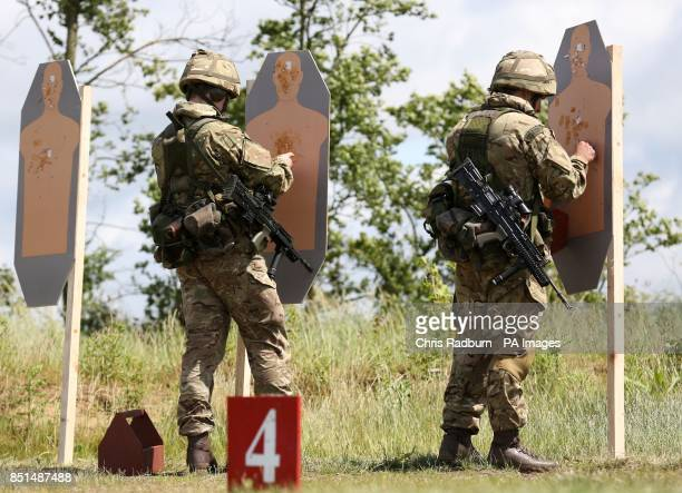 Previously unissued photo of members of Reservists from The Royal Marine Reserves working with SA 80 assault rifles on the firing range at...