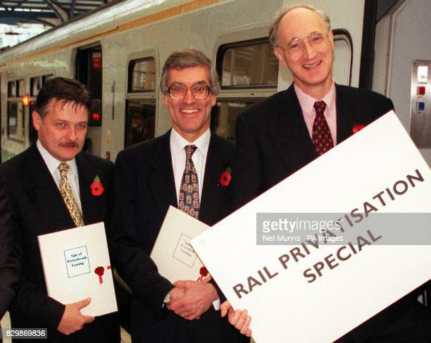 Previously unissued picture dated 11/95 of Transport Secretary George Young with Porterbrook's managing director Sandy Anderson who is reported to...
