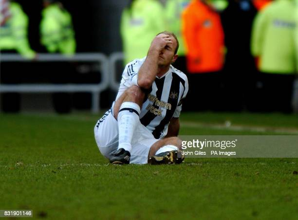 Previously unissued picture dated of Newcastle United's Alan Shearer as he sits injured on the pitch during the match against Sunderland