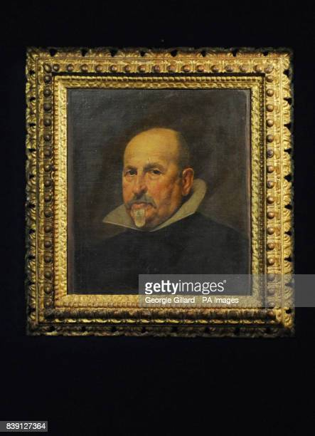 A previously unknown portrait by Spanish artist Diego Rodriguez de Silva y Velazquez on show at Bonhams in London ahead of the auction house's Old...