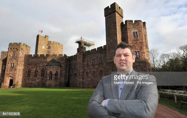 Previously unreleased photo dated of Chris Naylor owner of Peckforton Castle Hotel as building work is carried out on the premises in Cheshire Max...
