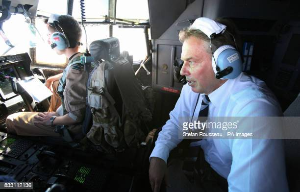 Previously unreleased photo of Prime Minister Tony Blair travels in the cockpit of a C130 Hercules during the journey from Baghdad to Basra in Iraq...