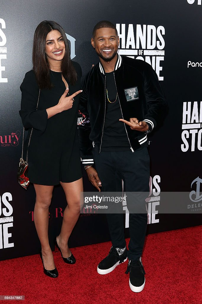 Prianka Chopra and Usher attend The Weinstein Company Presents the US Premiere of 'Hands of Stone' at SVA Theater on August 22 2016 in New York City