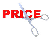 3d illustration of sign 'price' and scissors, isolated over white background