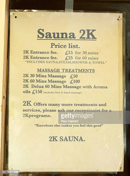 Price list at the Y2K Sauna Seven Sisters Road Holloway London Scene where a milti million pound vice ring was centred by Josephine Daly Josephine...