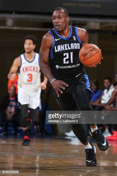 Price of the Lakeland Magic Dripples the ball against the Westchester Knicks during an NBA GLeague game on November 19 2017 at Westchester County...