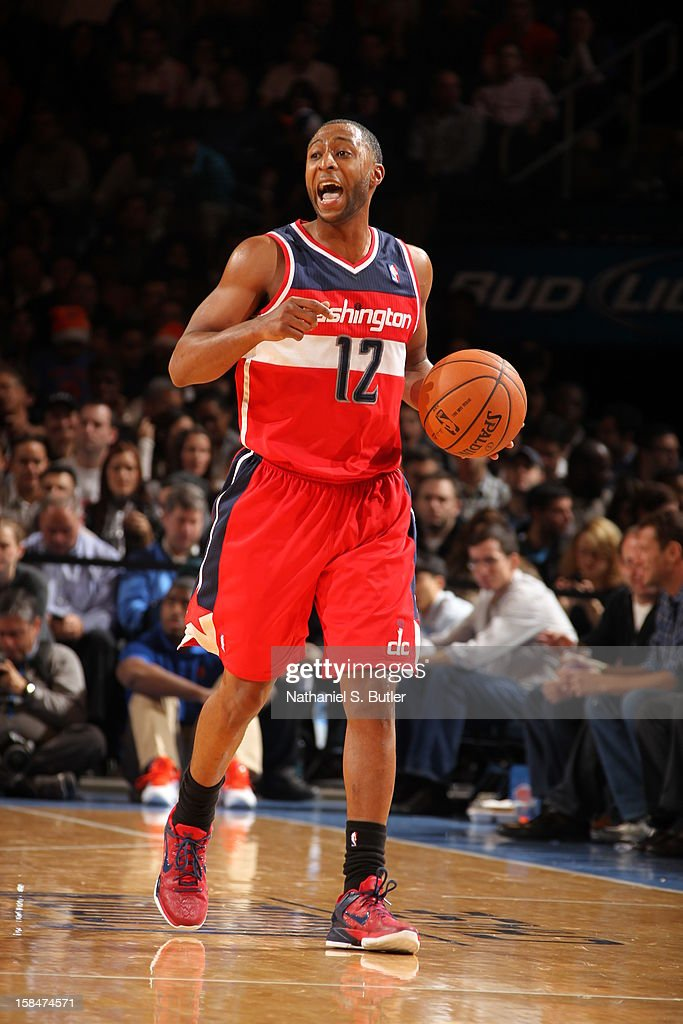 A.J. Price #12 of the Washington Wizards brings the ball up court against the New York Knicks on November 30 2012 at Madison Square Garden in New York City.