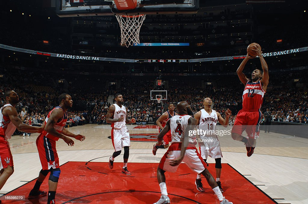 A.J. Price #12 of the Washington Wizards glides to the basket against the Toronto Raptors during the game on April 3, 2013 at the Air Canada Centre in Toronto, Ontario, Canada.