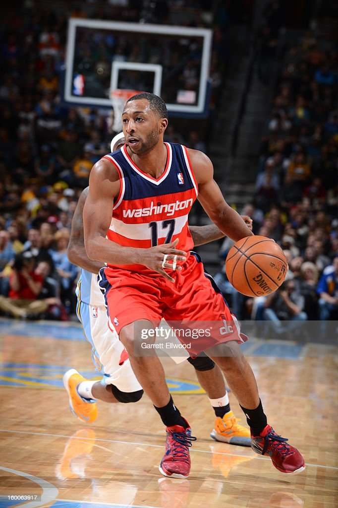 A.J. Price #12 of the Washington Wizards handles the ball against the Denver Nuggets on January 18, 2013 at the Pepsi Center in Denver, Colorado.
