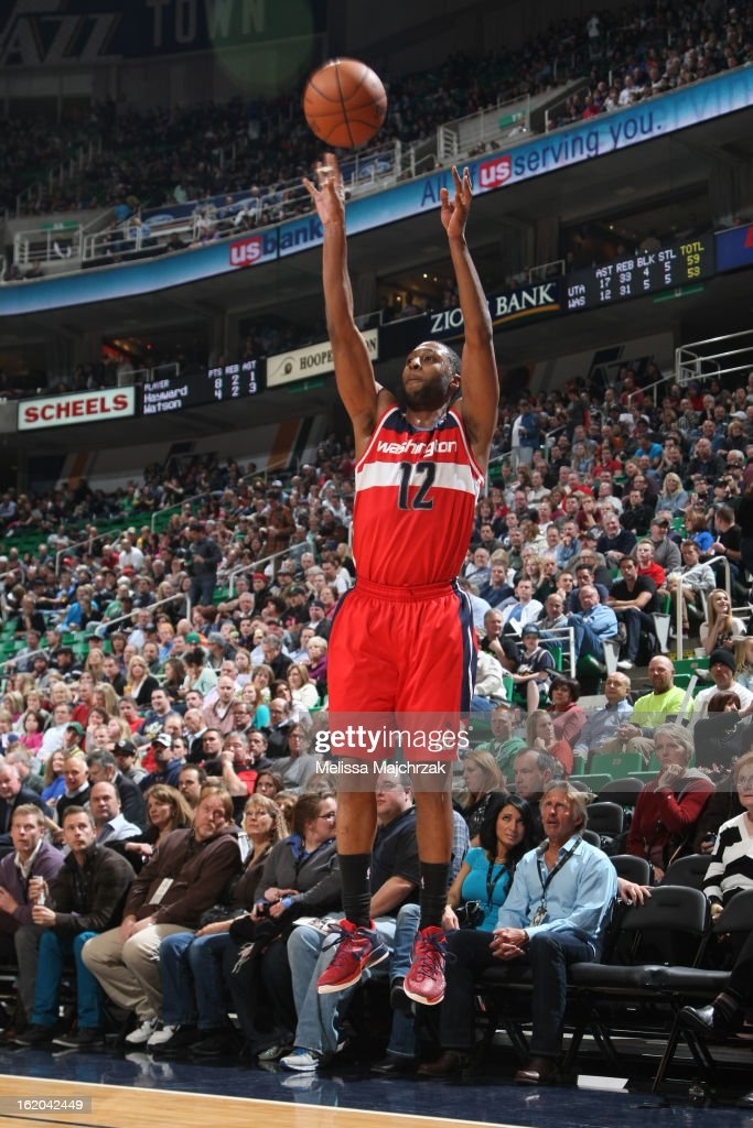 A.J. Price #12 of the Washington Wizards puts up a shot against the Utah Jazz at Energy Solutions Arena on January 23, 2013 in Salt Lake City, Utah.