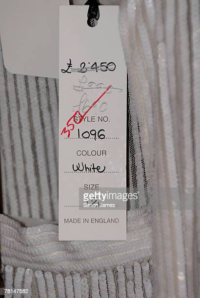 Price tag for one of Bruce Oldfield's dresses at the Billion Doller Babes sale at the Four Seasons Hotel November 29 2007 in London England