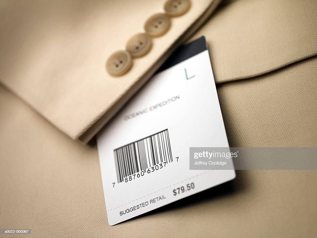 Price Tag on Jacket : Stock Photo