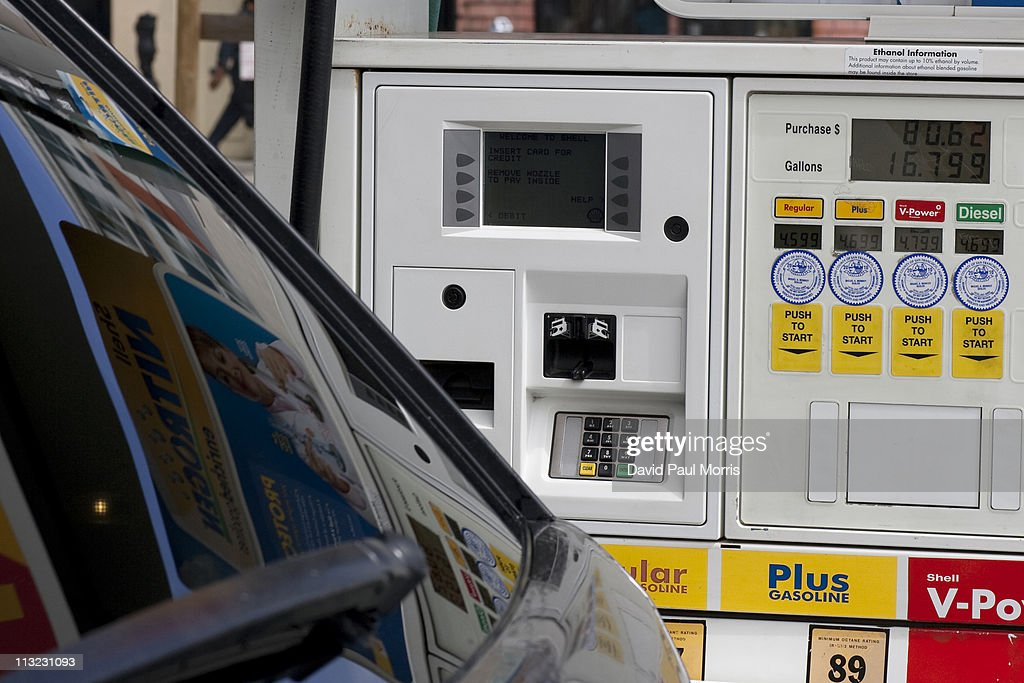 Prices for gasoline and diesel is displayed on a pump at a Shell gas station on April 27, 2011 in San Francisco, California. The average price for a gallon of regular gasoline in California increased 1.2 cents to $4.217 getting closer to the all time high of $4.588.