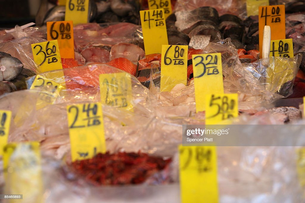 Prices for seafood are displayed at a market on March 17, 2009 in New York City. The Labor Department reported Tuesday a big decline in food prices. Food costs have now fallen for three straight months, declining 1.6 percent in February, the biggest one-month decline in three years.