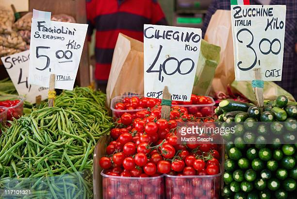 Prices in Euros are seen on a vegetable stall at Rialto Market on June 22 2011 in Venice Italy Eurozone finance ministers are currently seeking to...