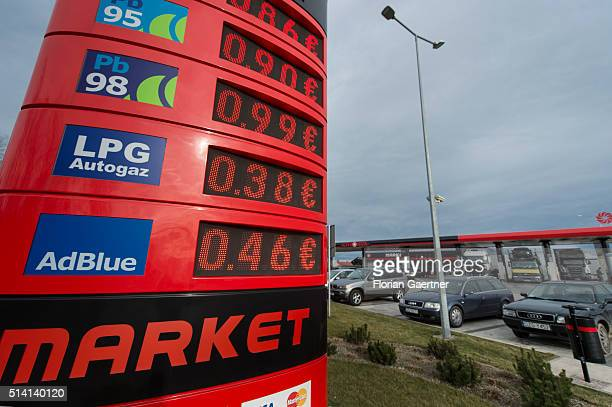 Prices of a petrol station are shown in Euro near the germanpolish border on February 08 2016 in Zgorzelec Poland