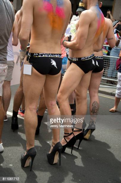Pride in London formally known as Pride London is an annual LGBT pride festival and parade held each summer in London United Kingdom A group of men...