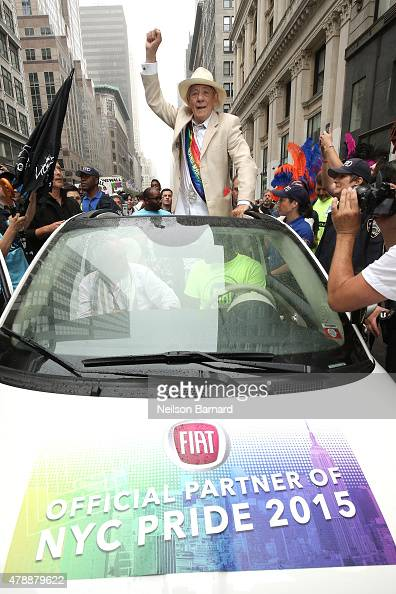 Pride March Grand Marshal Sir Ian McKellen rides in a Fiat 500 during the 2015 New York City Pride march on June 28 2015 in New York City