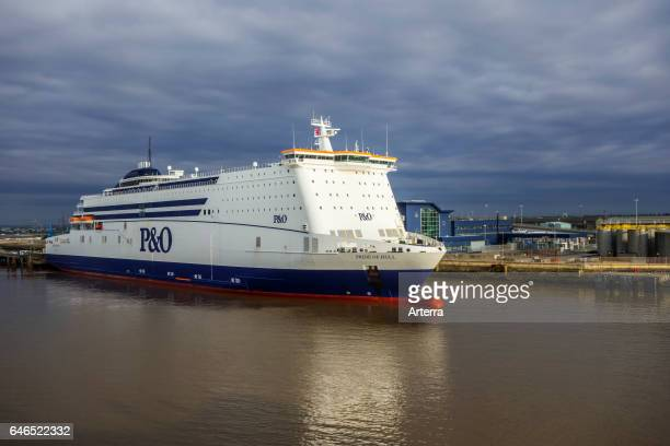 MS Pride of Hull passenger and cargo rollon/rolloff ship from PO North Sea Ferries in the port of Hull at Kingston upon Hull England UK