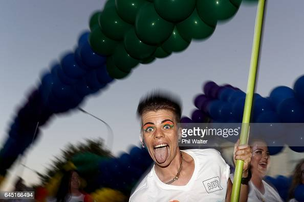 Pride Parade marcher makes their way down Ponsonby Road on February 25 2017 in Auckland New Zealand The Auckland Pride Parade is part of the annual...