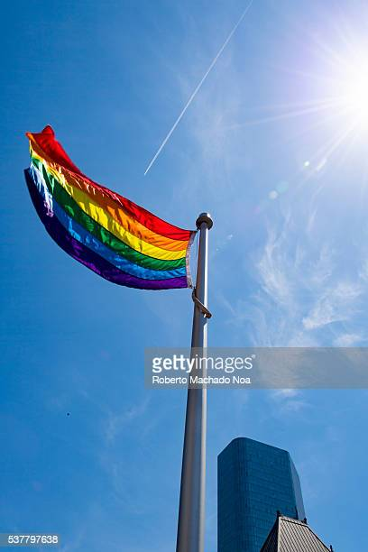 Pride rainbow flag waving in New City Hall Toronto City successfully launches the first Pride Month in Canada The event took place on top of the new...