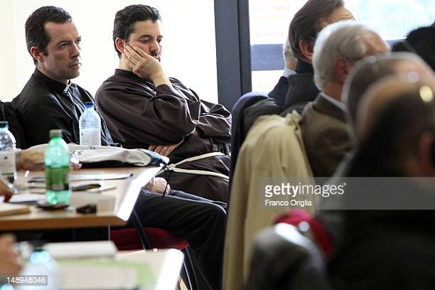 A priest and a friar attends a lesson during the Intensive Theoretical and Practical course on the Ministry of Exorcism at the Regina Apostolorum...