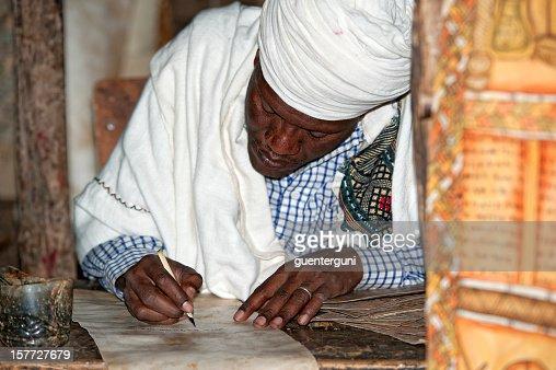 Priest is handwriting, Lalibela, Ethiopia