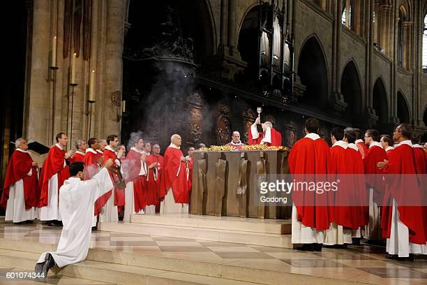 Priest ordinations at NotreDame de Paris cathedral Paris France Holy communion