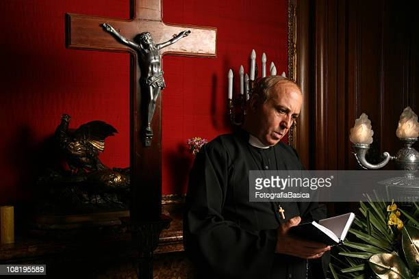 Priest Reading From Bible in Church