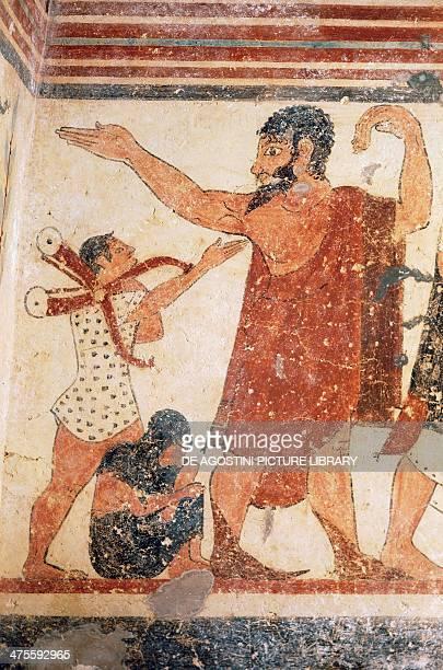 A priest taking leave fresco Tomb of the Augurs Monterozzi Necropolis Tarquinia Lazio Italy Etruscan civilisation 6th century BC