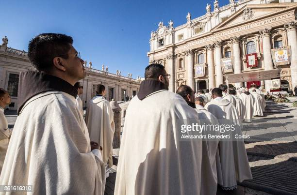 Priests attend a canonisation ceremony lead by Pope Francis on October 15 2017 in Vatican City Vatican During a solemn mass celebrated in St Peter's...